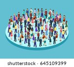 big people crowd on white... | Shutterstock .eps vector #645109399