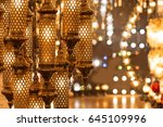 beautiful ramadan lanterns with ... | Shutterstock . vector #645109996