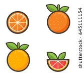 cartoon grapefruit and orange... | Shutterstock .eps vector #645111154