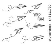vector paper airplane. travel ... | Shutterstock .eps vector #645111730
