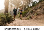 young people trail running on a ... | Shutterstock . vector #645111880