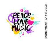 peace love music  ... | Shutterstock .eps vector #645112960