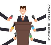 interview or press conference a ... | Shutterstock .eps vector #645115420