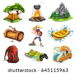 camp and adventure  3d vector... | Shutterstock .eps vector #645115963