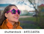 young smiling woman with vivid... | Shutterstock . vector #645116056