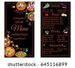 vertical restaurant menu with... | Shutterstock .eps vector #645116899