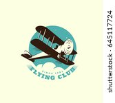 flying club logo template... | Shutterstock .eps vector #645117724