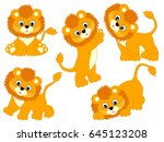vector cute cartoon baby lions...