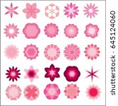 set of pink flower vector icon... | Shutterstock .eps vector #645124060