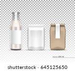 glass bottle  paper bag.... | Shutterstock .eps vector #645125650