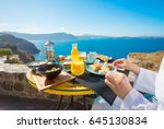 woman having delicious... | Shutterstock . vector #645130834