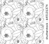 hand drawn seamless pattern... | Shutterstock .eps vector #645131374