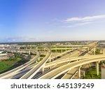 aerial view massive highway...   Shutterstock . vector #645139249