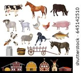 Farm Animals And Farm Building. ...