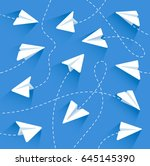 paper airplanes. paper... | Shutterstock .eps vector #645145390
