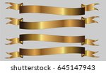 set of three golden ribbons on... | Shutterstock .eps vector #645147943