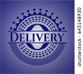 delivery badge with denim... | Shutterstock .eps vector #645148930
