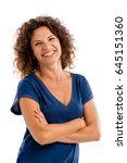 smiling middle aged woman with... | Shutterstock . vector #645151360