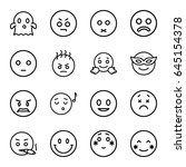 emoticon icons set. set of 16... | Shutterstock .eps vector #645154378