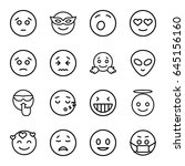 emoticon icons set. set of 16... | Shutterstock .eps vector #645156160