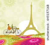 couple traveling to paris | Shutterstock .eps vector #645157168