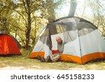 traveler man relaxing and... | Shutterstock . vector #645158233
