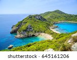 a panorama of prto timoni beach ... | Shutterstock . vector #645161206