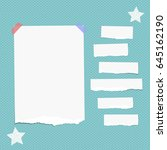 ripped white note  notebook ... | Shutterstock .eps vector #645162190