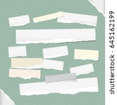 ripped white note  notebook ... | Shutterstock .eps vector #645162199