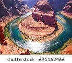 horseshoe bend on the colorado... | Shutterstock . vector #645162466