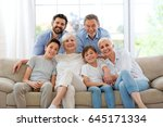 family of three generations   | Shutterstock . vector #645171334