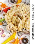 Small photo of pasta, alfredo, dinner and food concept - Alfredo pasta