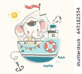 cute baby elephant sailor on... | Shutterstock .eps vector #645182554