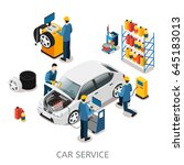 isometric car repair center... | Shutterstock .eps vector #645183013
