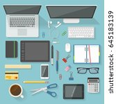 workspace elements top view set ... | Shutterstock .eps vector #645183139