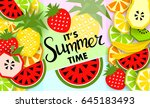 summer banner with fruit  place ... | Shutterstock .eps vector #645183493
