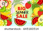 summer banner with fruit  place ... | Shutterstock .eps vector #645183514
