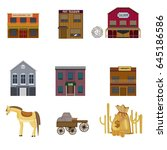 colorful wild west elements set ... | Shutterstock .eps vector #645186586