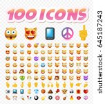 set of 108 cute emoticons on... | Shutterstock .eps vector #645187243
