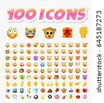 set of 108 cute emoticons on... | Shutterstock .eps vector #645187273