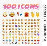 set of 108 cute emoticons on... | Shutterstock .eps vector #645187330