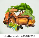 camping and adventure time ... | Shutterstock .eps vector #645189910