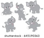 Stock vector vector cute grey cartoon baby elephants set elephant clipart vector illustration 645190363