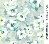 soft watercolor like floral... | Shutterstock .eps vector #645194728