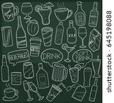 drinks and beverages doodle... | Shutterstock .eps vector #645198088