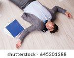 businessman dead on the office... | Shutterstock . vector #645201388