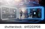 businessman in big data... | Shutterstock . vector #645203908
