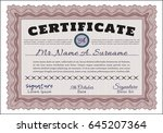 red certificate diploma or... | Shutterstock .eps vector #645207364