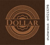 dollar realistic wood emblem | Shutterstock .eps vector #645213298