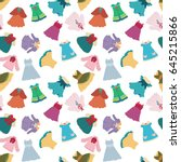 seamless pattern with cute... | Shutterstock .eps vector #645215866